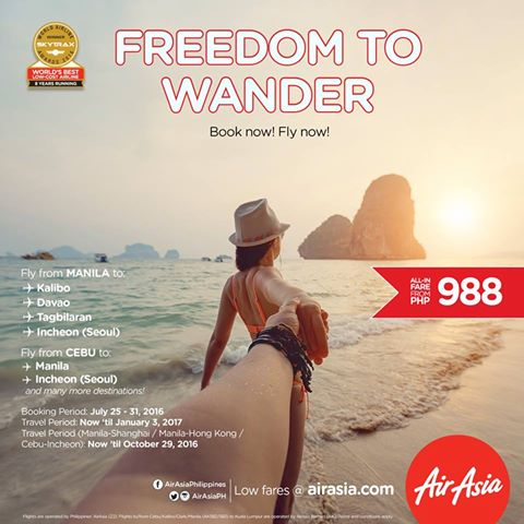 Air  Asia Promo for Only  P988 ALL  IN!Book Now Fly Now!